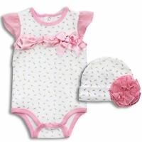 Baby Essentials Baby Girl Clothes 3 6 9 Months M 2 Pc Creeper & Hat Flowers