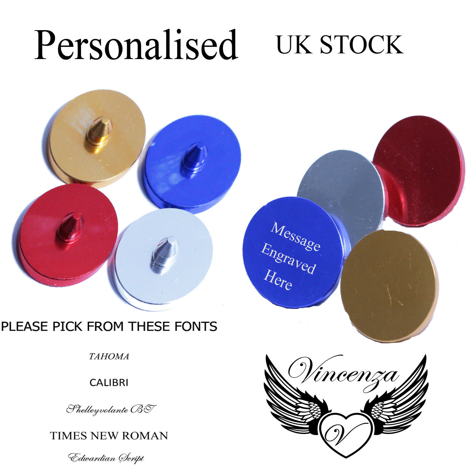 Personalised Metal Golf Ball Marker Names 4 Colours Free Engraving Note This Is A Thumbnail Diagram Click On It To Enlarge Thumbnails Above