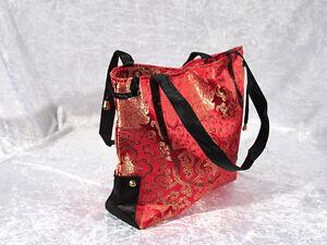 Schultertasche rot schwarz traditionelles chin. Muster