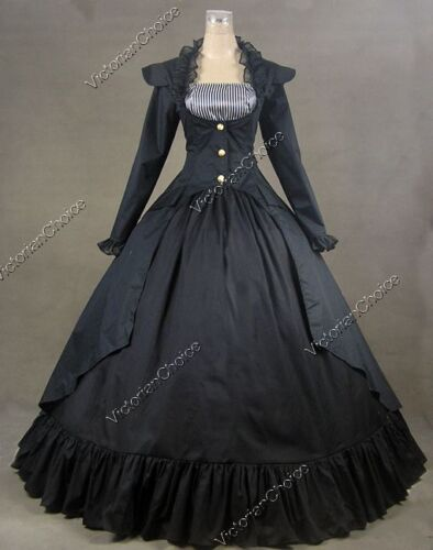 Steampunk Dresses | Women & Girl Costumes    Victorian Edwardian Black Steampunk Coat Dress Reenactment Theater Clothing 167 $155.00 AT vintagedancer.com