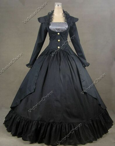 Victorian Costumes: Dresses, Saloon Girls, Southern Belle, Witch    Victorian Edwardian Black Steampunk Coat Dress Reenactment Theater Clothing 167 $155.00 AT vintagedancer.com