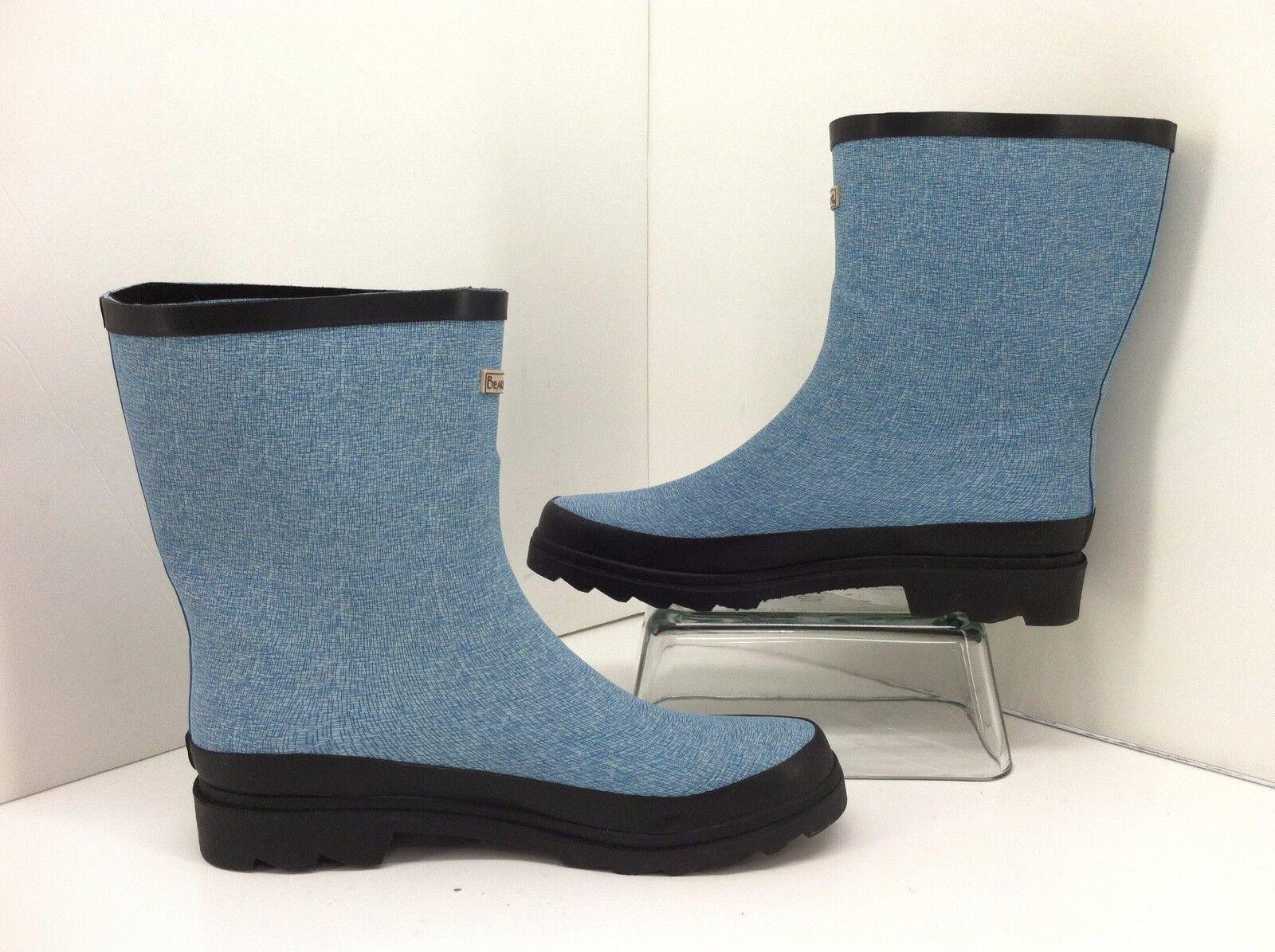 Bearpaw Peggy Blue & Black Rubber Rainboots. Size 11 Style 1792W