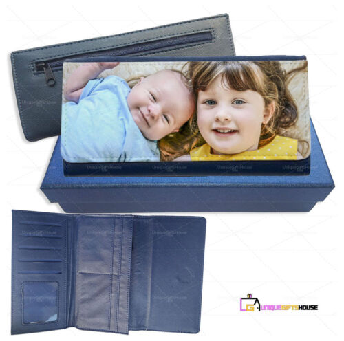 Personalised Custom Any Photo Print Large Leather Purse with gift box Card Slot