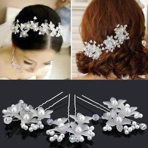 2Pcs-Metal-Bridal-Headpiece-Clip-Pearl-Flower-Tiara-Headband-Hair-Jewelry