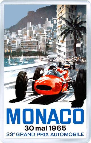 1965 MONACO GRAND PRIX MOTOR RACING FRIDGE MAGNET IMAN NEVERA