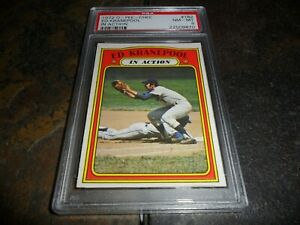 1972 ED KRANEPOOL OPC #182 O-PEE-CHEE IN ACTION NEW YORK METS NM MINT PSA 8