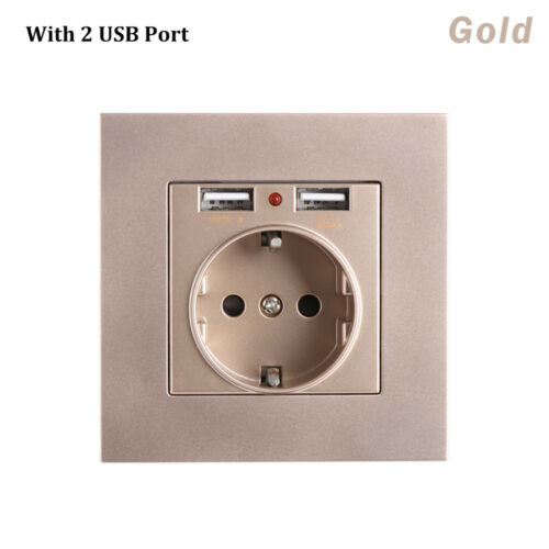 Wall Socket 16A EU Standard Electrical Outlet With 5V 2.1A Dual USB Charger Port