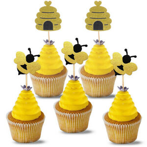 12pcs Glitter Bumble Bee Cupcake Toppers Cake Picks Baby Shower Party Decor