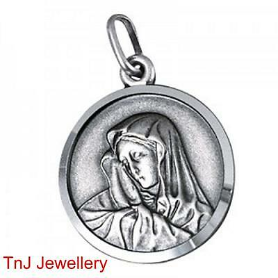 Genuine Authentic Solid 925 Sterling Silver Madonna Pendant Optional 925 Chain