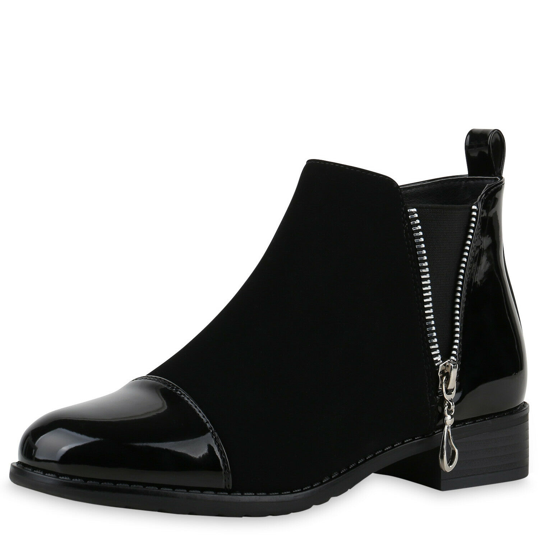Damen Stiefeletten Leicht Gefütterte Ankle Boots Lack Booties 831744 Trendy