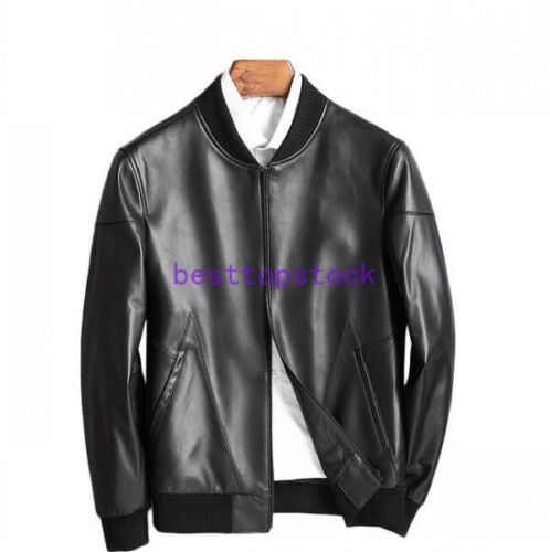 Baseball Motorcycle Real Jacket Genuine Fit Slim Leather Coats Men Sheep Autumn zYdnq