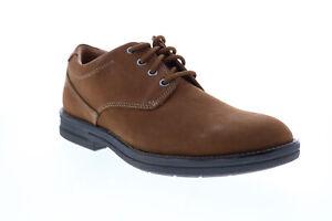 Clarks Banning Plain 26151750 Mens Brown Nubuck Plain Toe Oxfords Shoes