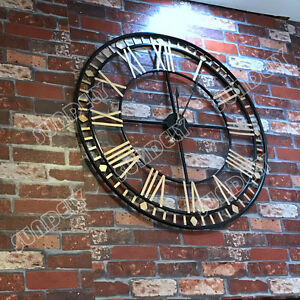 Extra Large 80cm Black And Gold Metal Rustic Wall Clock