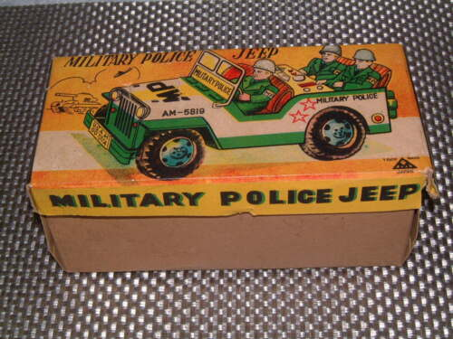 VINTAGE MITSUHASHI MILITARY POLICE TIN FRICTION DRIVEN JEEP W/BOX! Alle Artikel in Elektrisches Spielzeug RARE