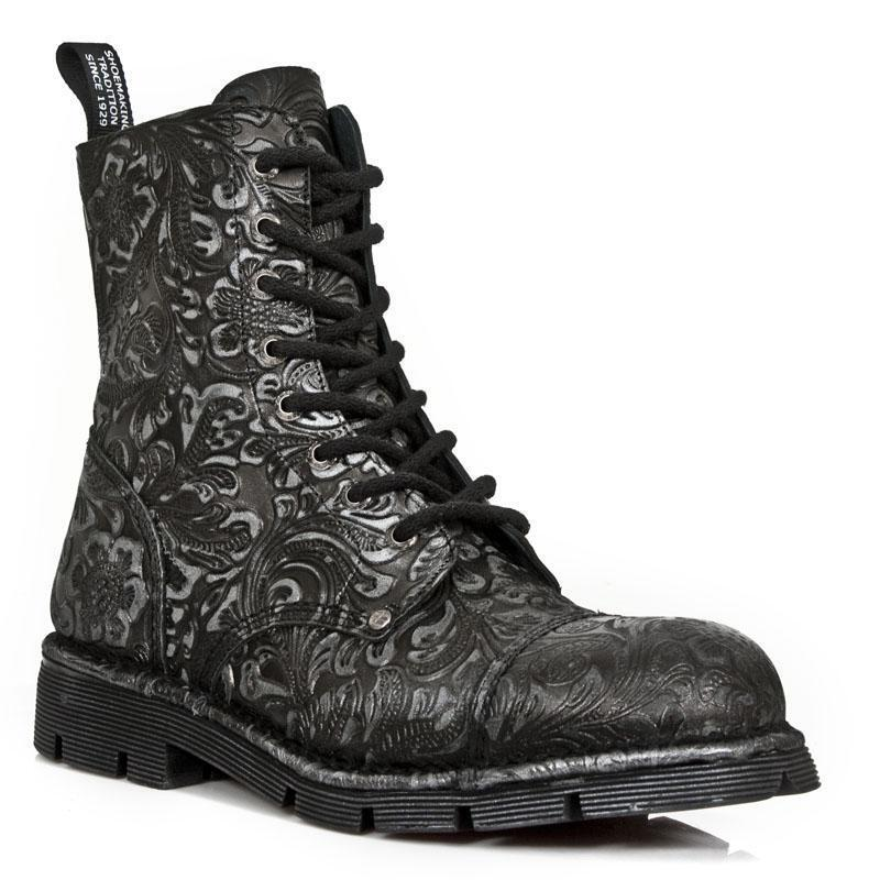 Botas PIEL Militar Unisex NEW ROCK ORIGINAL Acabado relieve M.NEWMILI083-S7