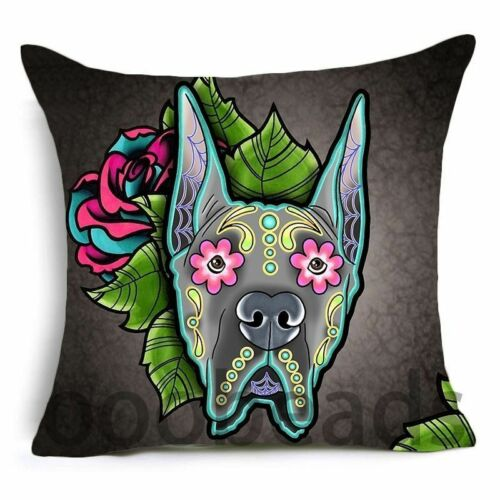 """SUGAR SKULL CUSHION COVER 17/"""" Day of the Dead DOG Tan Grey Pink Blue Red BEAGLE"""