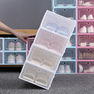 Flip-Open-Cover-Clear-Stackable-Storage-Box-Shoes-Drawer-Case-Organizer-Newly