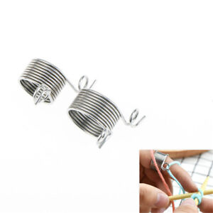 2Size-Ring-Knitting-Tool-Finger-Thimble-Yarn-Spring-Guides-Needle-Thimble-DH