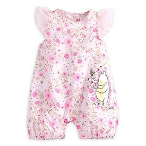 1b8cb02e223 Details about DISNEY STORE WINNIE POOH FLOWER PRINT ROMPER FOR BABY WITH TULLE  FLUTTER SLEEVES