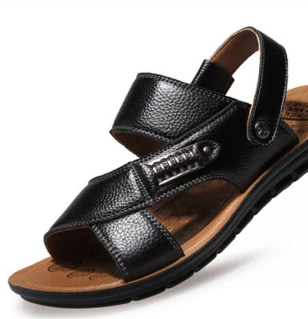 Men's Stylish leather summer sandals casual wear beach sports holiday sandals