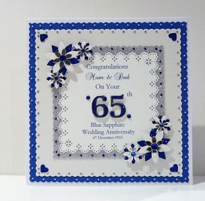 Image Is Loading 45th 65th Sapphire Wedding Anniversary Card Wife Husband