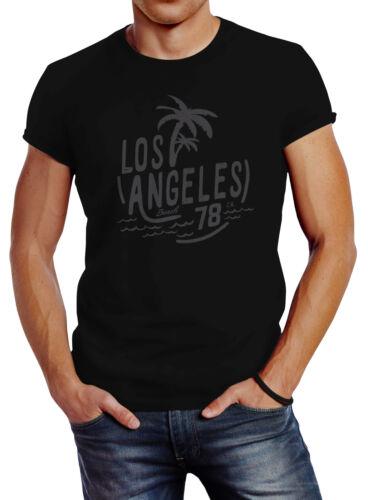 Herren T-Shirt Los Angeles Beach Palmen Surf Print Slim Fit Neverless®