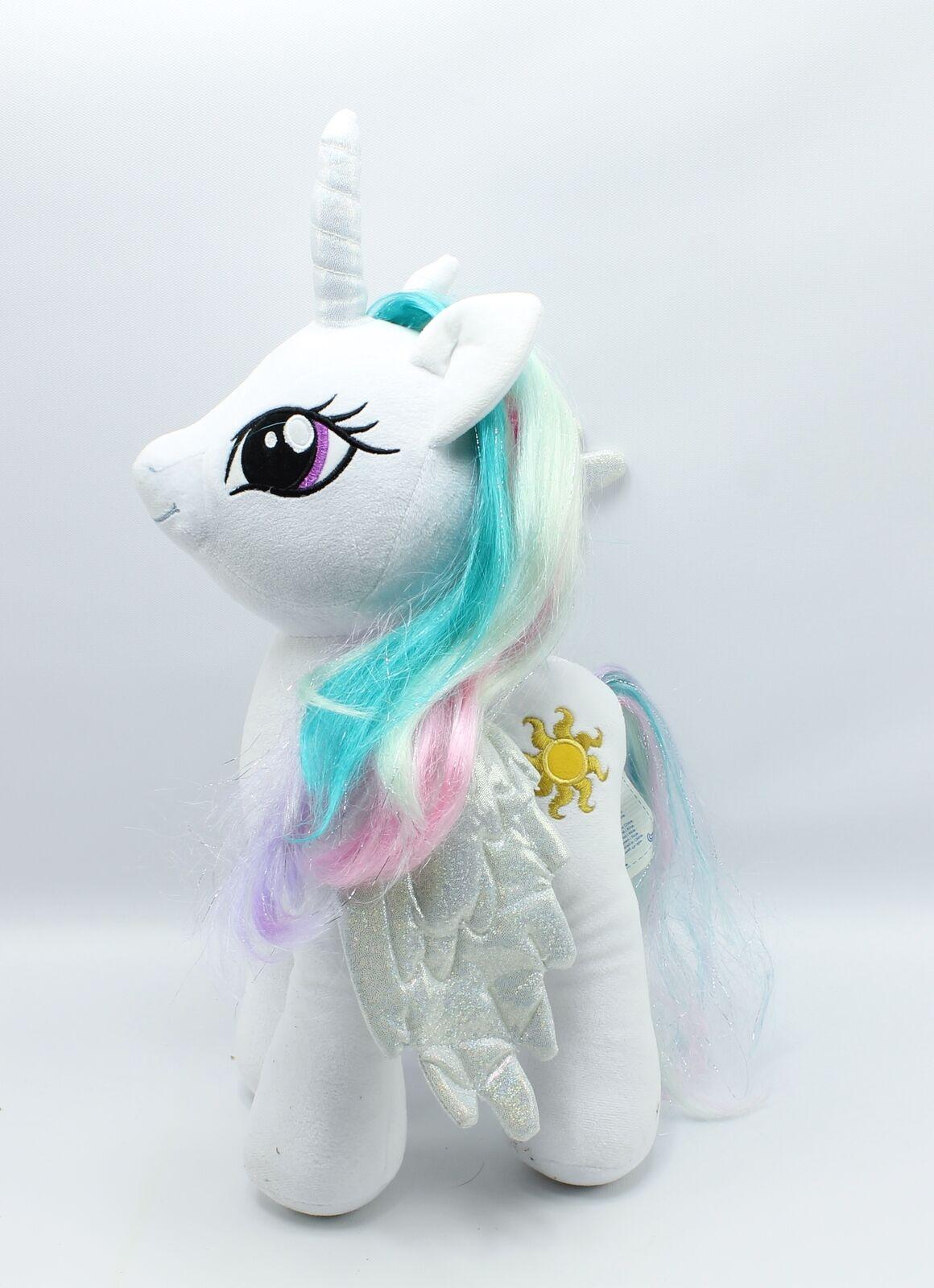 My Little Pony Build a Bear PRINCESS CELESTIA Plush White Unicorn Glitter Wings
