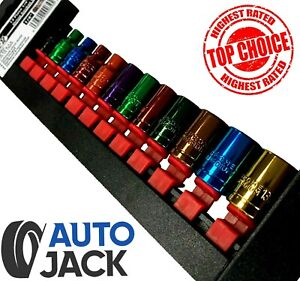 """13mm with Rail 12pc 1//4/"""" Drive Socket Set 12 Piece Coloured Metric Sockets 4mm"""