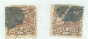 US-113 POST RIDER AND HORSE PAIR OF  2c STAMPS  issued 1869 cancelled