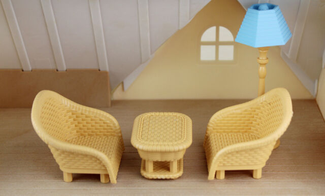 Cute Miniature Furnitures White Piano with Seat  for Sylvanian Families Dolls