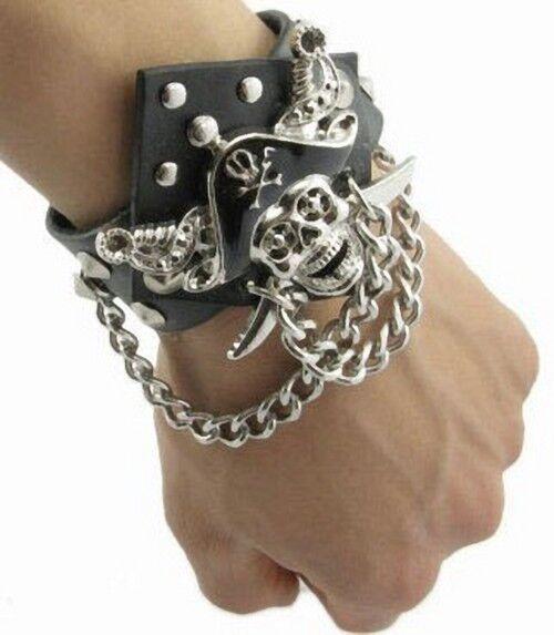 Men Pirate Skull Punk Metal Black Gothic Leather Cuff Bangle Wristband Bracelet