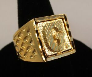 mens 14kt gold ep bling letter g initial hip hop ring