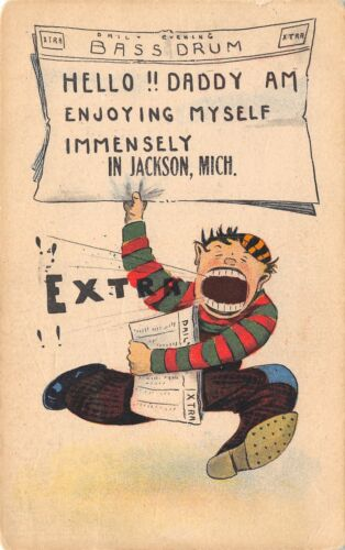 """Enjoying Myself Immensely"" in Jackson MichiganExtra! Newspaper Headline1914"