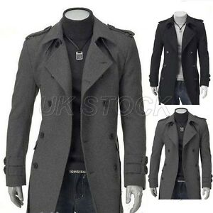 UK Stock Mens Warm Slim Fit Long Trench Coat Jacket Casual Smart ...