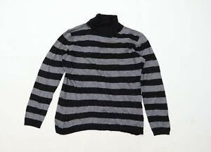 Marco-Pecci-Womens-Size-16-Striped-Black-Jumper-Regular