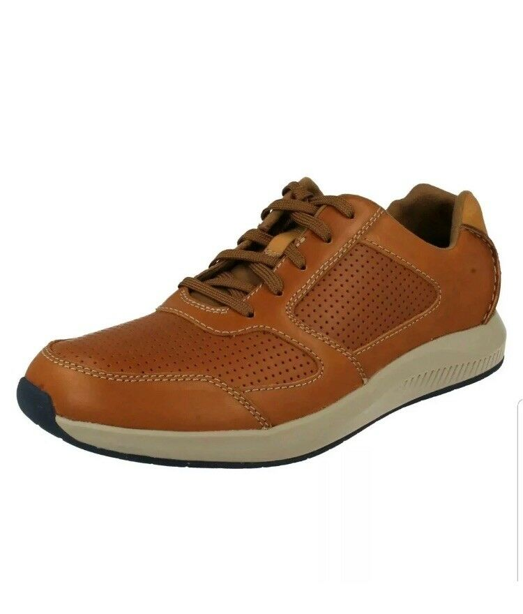 Clarks Men's Sirtis Mix Dark Tan Leather Casual shoes Uk Size 8G