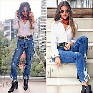 000d9072c44 Zara Sis Stradivarius Mid Blue Ripped Straight Crop Jeans Size 6 US ...