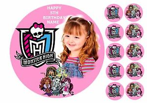 Cool Monster High Own Photo 7 5 Round Edible Birthday Cake Topper Personalised Birthday Cards Beptaeletsinfo