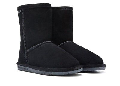 NEW KIDS YOUTH 2019 BEARPAW EMMA TALL BOOTS BLACK II SHEEPSKIN SUEDE ORIG 618Y