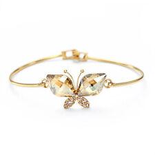 Swarovski Element Crystal Sparkly Champagne Gold Butterfly Charm Bracelet Bangle