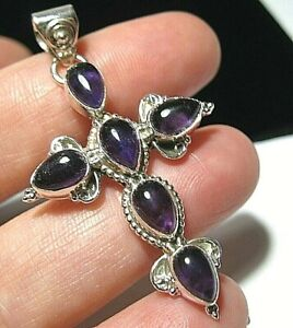 Sterling Silver Real AMETHYST Gem Stone 9.33cts Religious Cross Necklace PENDANT
