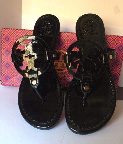 Tory Burch Miller Sandals Black Patent Leather Shoes Size 8m//