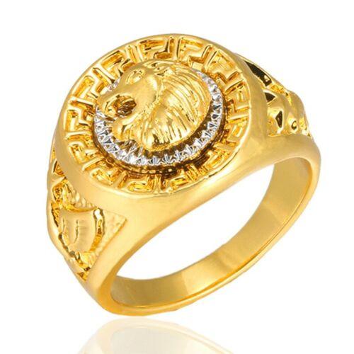 Herren Edelstahl Ring Vergoldet Löwen Eagle Star Gold Ring Neu