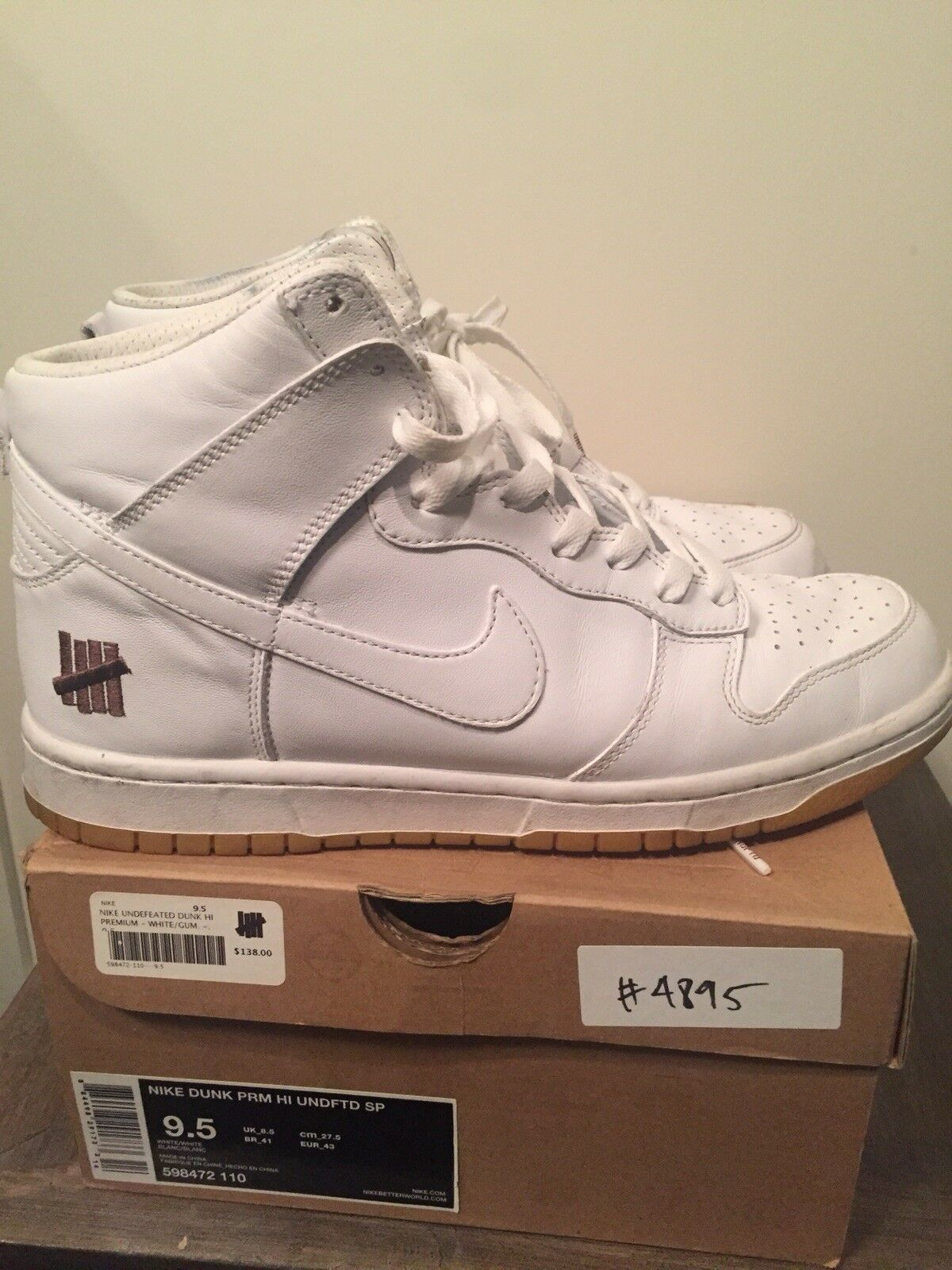 2012 UNDEFEATED DUNK WHITE HIGH WHITE DUNK GUM SIZE 9.5 fbb704