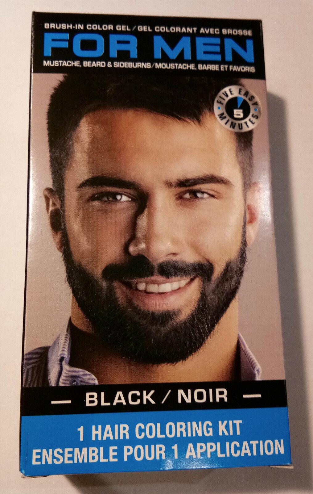 Black For Men Mustache Beard Sideburns Hair Coloring Kit Brush In
