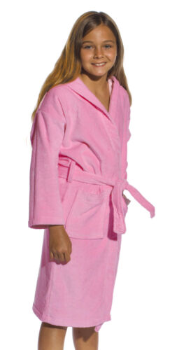 Hooded Velour Terry Kids Bathrobe Robes for Girls and Boys embroidery available