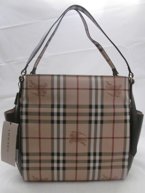 Burberry Haymarket Canterbury Tote Shoulder Bag Purse Dark Chocolate ... a62d95363a9d8