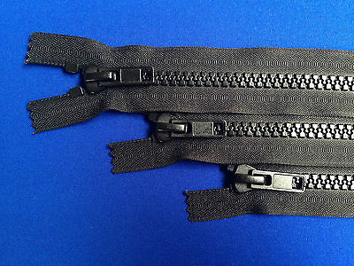 "ZIP CLOSED ENDED 10 WEIGHT 41CM 16/"" METAL SLIDER BLACK CHUNKY HEAVY DUTY"