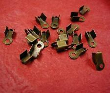 100pc antique bronze plated small metal fold over crimp head-4998