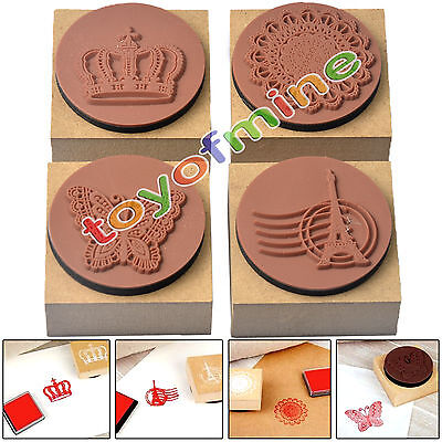 4 Model Retro Style Scrapbooking Wooden Rubber Stamp Seal With Ink Pad DIY